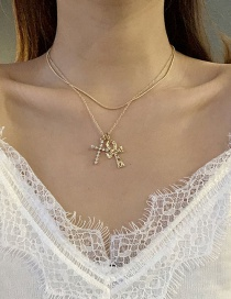 Fashion Golden Cross Necklace With Diamonds