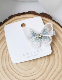 Fashion White Embroidered Butterfly Duckbill Clip