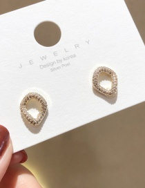 Fashion Golden 925 Silver Pin Zircon Wave Small Circle Stud Earrings