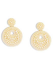 Fashion Golden Alloy Inlaid Pearl Earrings