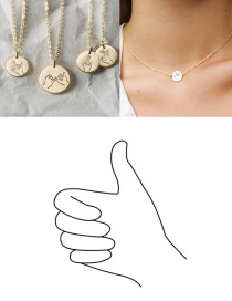 Fashion Golden-thumb Geometric Round Stainless Steel Titanium Steel Engraved Gesture Double Hole Necklace 13mm