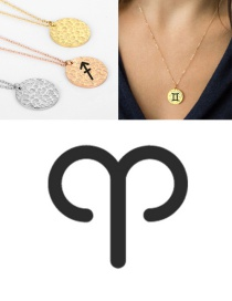 Fashion Rose Gold-aries Stainless Steel Engraved Constellation Geometric Round Necklace 15mm
