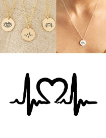 Fashion Rose Gold Stainless Steel Single Hole Engraved Ecg Adjustable Necklace 13mm