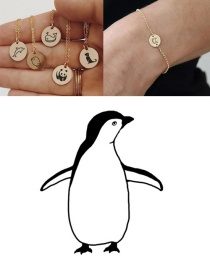 Fashion Steel Color-penguin Titanium Steel Plated Stainless Steel Geometric Round Carved Animal Bracelet 9mm