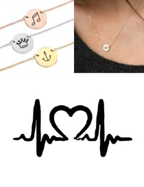 Fashion Golden Titanium Steel Engraved Ecg Stainless Steel Double Hole Round Necklace 9mm