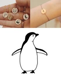 Fashion Golden Titanium Steel Stainless Steel Carved Penguin Geometric Round Bracelet 13mm