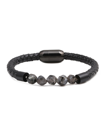 Fashion Black Flash 8mm Diamond Beveled Stainless Steel Magnetic Buckle Leather Men's Bracelet
