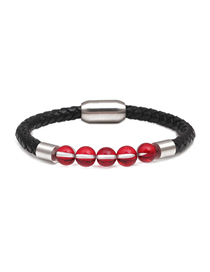 Fashion Red 8mm Flash Moonstone Stainless Steel Magnetic Buckle Leather Bracelet