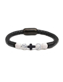 Fashion White Pine 8mm Turquoise Beaded Cross Stainless Steel Magnetic Buckle Leather Bracelet