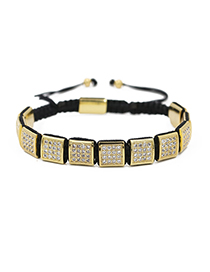 Fashion Gold 10 * 10mm Square Micro Inlaid Zircon Woven Adjustable Bracelet