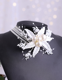 Fashion White Handmade Pearl Flower Lace Twigs