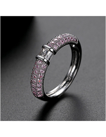 Fashion Pink 9 Yards Copper-set Zircon Contrast Alloy Ring