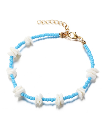 Fashion blue Broken Shell Contrast Rice Bead Anklet
