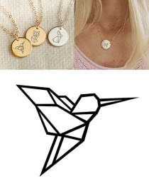 Fashion Rose Gold Woodpecker Geometric Round Necklace 15mm