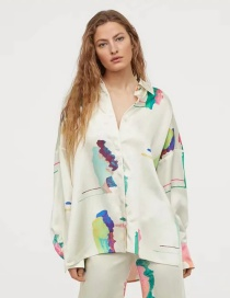 Fashion Color Printed Oversized Loose Long Sleeve Shirt