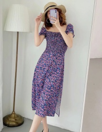 Fashion Purple Printed Pleated Square Collar Puff Sleeve Dress