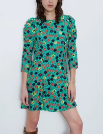 Fashion Color Flower Print Puff Sleeve Dress
