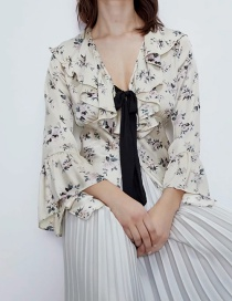 Fashion Beige V-neck Printed Bell Sleeve Shirt With Bow
