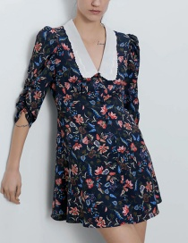 Fashion Black Contrast Printed Dress With Embroidered Neckline