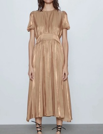 Fashion Champagne Pleated Sleeve Paneled Pleated Long Dress