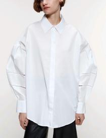 Fashion White Lace-trimmed Poplin Lapel Shirt