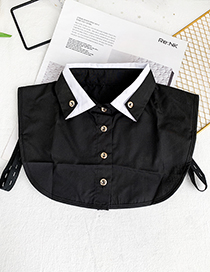 Fashion Black Fabric Double-breasted Collar