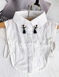 Fashion White Fabric Resin Fringed Breasted Fake Collar