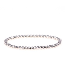 Fashion Silver Elastic rope hand-beaded color-preservation electroplated copper bead bracelet