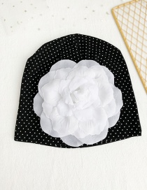 Fashion Black Children's Fabric Dot Flower Hat