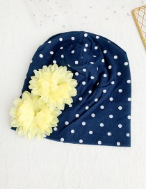 Fashion Navy Children's Fabric Dot Flower Hat