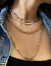 Fashion Golden Snake Bone Chain Alloy Multilayer Necklace Set
