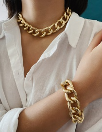 Fashion Golden Alloy Hollow Chain Alloy Bracelet Necklace Set