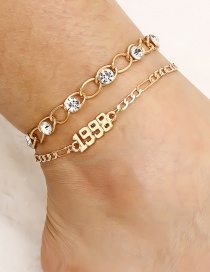 Fashion Golden Suit Digital Anklet With Zircon Inlaid Multilayer Chain