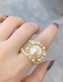 Fashion Golden Cutout Pearl And Diamond Opening Adjustable Ring