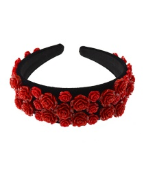 Fashion Red Flower Resin Fabric Wide Edge Hair Band