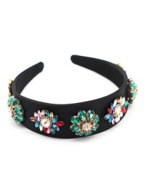 Fashion Color Section Rhinestone Pearl Flower Contrast Fabric Wide Edge Hoop
