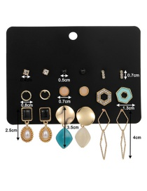 Fashion Color Mixing Dripping Pearl And Diamond Geometric Earring Set