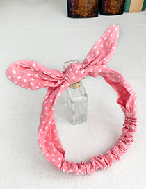 Fashion Pink Cloth Bow Wave Point Hair Band
