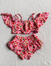 Fashion Pink Cherry Print Ruffled Children's Split Swimsuit