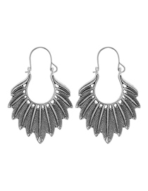 Fashion Ancient Silver Leaf Alloy Embossed Geometric Earrings