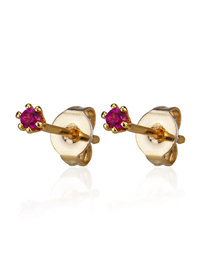 Fashion Gold Plated Red Zirconium Cu Plated Small Zircon Earrings