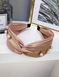 Fashion Skin Powder Wide-edge Cross-hook Pearl Headband