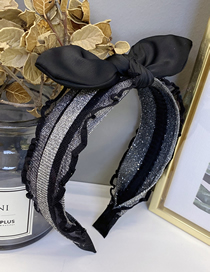 Fashion Black And Silver Lace Screen Yarn Bronzing Bow Hit Color Headband