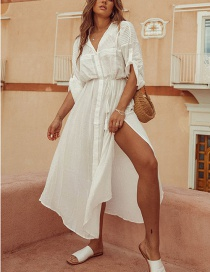 Fashion White Tie Strap Single Breasted Split Sunscreen Coveralls
