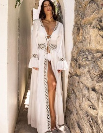 Fashion White Cardigan Lace Patchwork Sunscreen