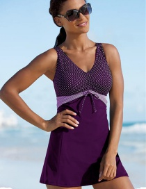 Fashion Purple Skirt Conservative Belly-covering Plus Size Split Swimsuit