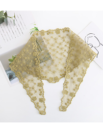 Fashion Light Army Green Full Lace Flower Triangle Scarf