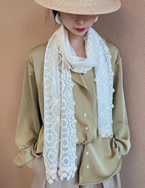 Fashion Beige Flower Lace Long Scarf