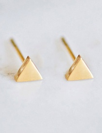 Fashion Golden Shiny Stainless Steel Geometric Triangle Earrings