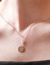 Fashion Golden Stainless Steel Coin Geometric English Necklace